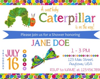 Very Hungry Caterpillar Baby Shower/Sprinkle Digital Invitation Design