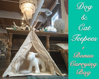 DOG teepee/ CAT TEEPEE - Pet Tipi Tent Bed - Ready Made or Custom - Includes Pillow - Gorgeous Design with Natural Canvas
