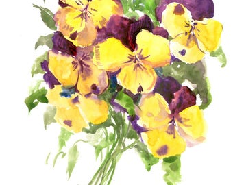 Purple yellow Pansies, small watercolor painting, 12 x 9 in, blue purple  floral wall art