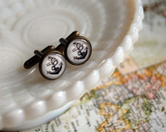 Vintage Anchor antique brass cuff links - mens- husband gift- nautical - steampunk