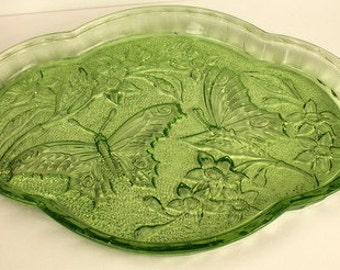 Bright Green Pressed Glass Sowerby Comb/Brush Tray