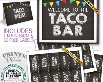 """Taco Bar Sign and Labels, Taco Buffet, Build Your Own Taco Station, Mexican Bar, Chalkboard Style PRINTABLE 8x10"""" Sign & 2x3.5"""" Labels <ID>"""