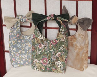 Fabric Gift Bags, Set of 3 Reusable Gift Bags, Fabric Gift Wrap, Recycled Fabric Bags, Small Gift Totes, Doll Hobo Bags, Handmade Gift Bags