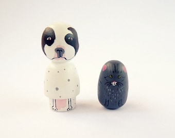TWO personalized pet Portrait Dog or Cat  Dolls - Personalized - Wooden hand painted pet cat dog lover white dotty white