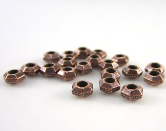 TierraCast Leather Findings Line-20 Antique Copper Tierracast 5mm w/ 2mm Hole Faceted Spacers