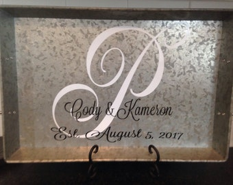 Personalized metal serving tray