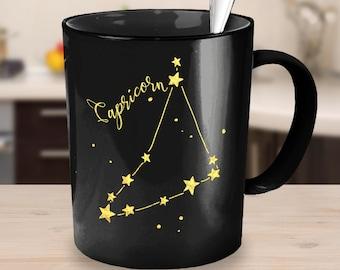 Capricorn Zodiac Sign Constellation Mug - Black. Great Gift Idea - Two Sizes