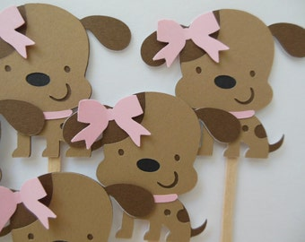 Puppy Dog Cupcake Toppers - Pink and Brown - Girl Birthday Party Decorations - Girl Baby Showers - Set of 6