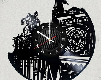 BATMAN 12 inch / 30 cm ViNYL WALL ClOCK MOVIE Dc Comics GaMe wall clock gifts for men Dark Knight gift for kids Gotham Batman gifts for boys