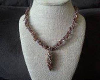 Copper Wire Crocheted Necklace with Ceramic Wire Wrapped Pendant Necklace