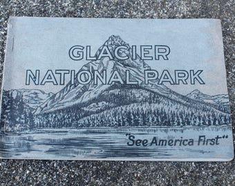 Vintage Travel Landmarks Antique Glacier National Park Post Cards Souvenir Postcard Book