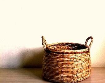 Hand Woven Storage Basket With Handles, Newspapers Basket, Kitchen Basket, Wicker Basket, Toys Basket, Rustic Basket, Natural Basket, Eco