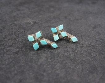 Vintage Zuni Turquoise Cross Earrings Sterling Studs