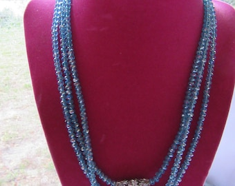 Vintage Blue Crystal Aurora Borealis Triple Stand Necklace with Rhinestone Ball Accents