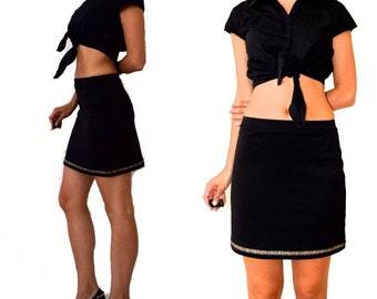 Vintage 90's Tight Stretchy Black Mini Skirt