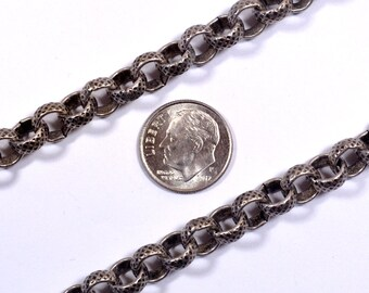 Crosshatch Etched Rolo Chain - Antique Silver  - CH92-AS - Choose Your Length