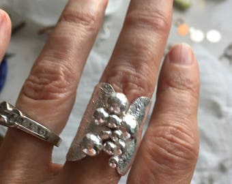 Reticulated sterling silver ring