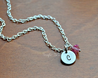 Short and Sweet- Hand Stamped Initial Necklace with Swarovski Birthstone