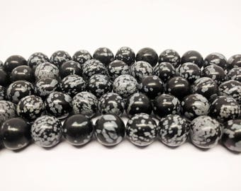 Obsidian Beads Snowflake Obsidian Full Strand Beads for Jewelry Making Mala Beads for Malas Bracelet Beads Jewelry Beads Natural Beads