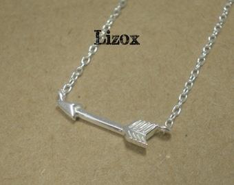 925 Sterling Silver Arrow Necklace- Dainty Silver Arrow Necklace- Sideways Arrow Silver Necklace- All Sterling Silver arrow Necklace
