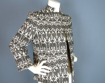 Vintage 1980s Hand Woven Black and White Jacket, Guatemala