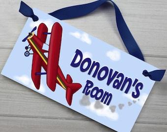 Kids DOOR SIGN Up Up and Away Little Red Airplane Children's Bedroom Nursery Wall Art DS0002