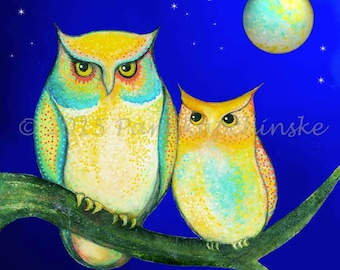 "Archival Print of Original Mixed Media Painting--""Owl Moon""--Pam Kapchinske"