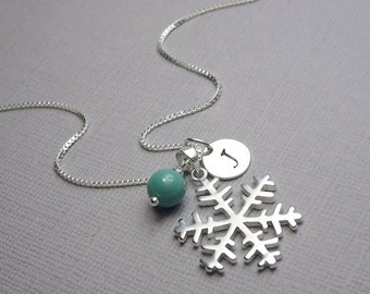 Sterling Silver Snowflake Necklace, Winter Wedding Necklace, Winter Necklace, Swarovski Jade Pearl Bridesmaid Necklace, Snowflake Necklace