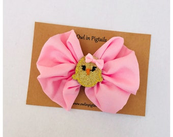 Yellow Chick Bow Clip / Easter Hair Clip