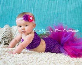 Purple Princess Fishtail Tutu Set - Baby Guppies Girl Size Newborn 3 6 9 12 Months - Under The Sea Kids Toddler Mermaid Birthday Outfit  sc 1 st  Etsy & Purple Tiara Glitter Crown Birthday Candle Princess Birthday