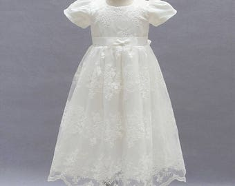 2 Pcs Set, Baptism Dress, Christening Dress, Embroidered dress, Communion Dress,Wedding Dress,Flower Girl Dresses, Lace Dress,Blessing Dress
