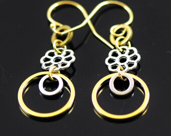 Mixed Metal Earrings with gold over silver hook, golden hoops earrings, dangling earrings, gold and silver color