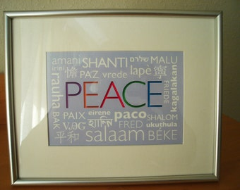 PEACE in Different Languages Print - Size: 10 x 8 inches