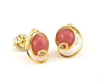 Pink Gemstone Gold Stud Earrings, Unique Wire Wrapped Rhodonite Gold Filled Stud Post Earrings, Rhodonite jewelry