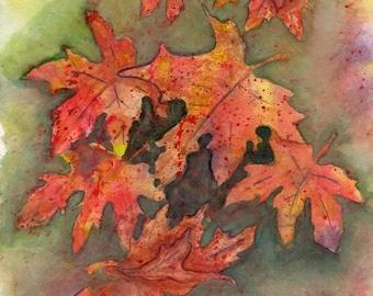 Falling Autumn Leaves Watercolor Print