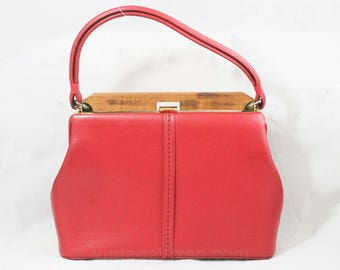Red Leather Bag - 1950s 60s Cherry Top Grain Large Purse - Solid Wood Frame & Brass Hardware - Gorgeous Leather - Clean and Pristine - 49148