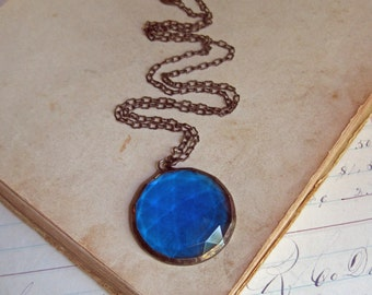 Aqua Faceted Stained Glass Necklace