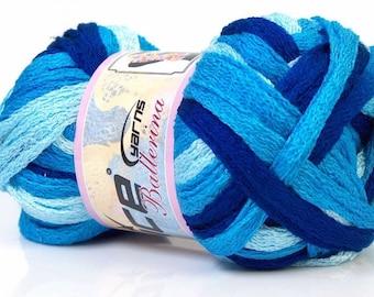 Ball of yarn for scarf ruffle ballerina trio of blue acrylic