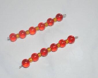 Set of 2 pendant bead Red