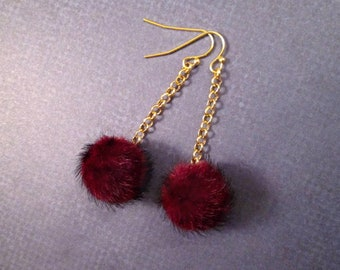 Faux Fur Earrings, Bordeaux Wine Pom Pom Earrings, Red and Gold Dangle Earrings, FREE Shipping U.S.