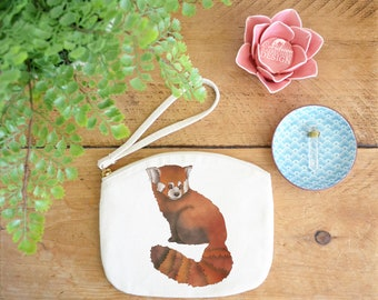 Red Panda Canvas Zip Bag, Makeup Bag, Coin Purse, Small Accessory Pouch, Stocking Filler