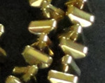 14 inch Strand HEMATITE 5mm Shiny METALLIC GOLD Triangle Rondelle Spacer Beads 124pc