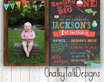 Offishally 1 birthday invitations, reeling in the big one first birthday invitations, it's o-fish-al first birthday party invitations