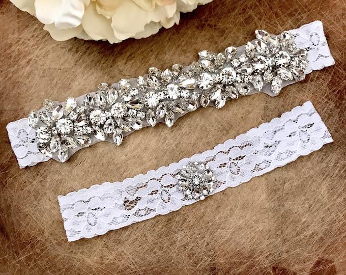 Wedding Garter set, NO SLIP grip Lace Wedding Garter Set, bridal garter set, vintage rhinestones, pearl and rhinestone garter CB04S-C29