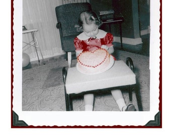 Little Girl w Valentine Cake I love you with all my heart Greeting Card