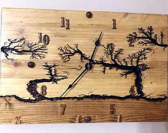 "18"" x 12"" Wood clock, wall clock, wall art clock, wooden clock lichtenberg wood hanging clock for her holiday gift anniversary wedding gift"