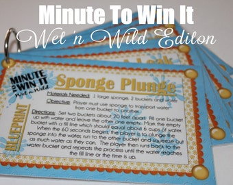 Minute To Win It Wet 'n Wild Edition Printable - Family Game Night, Classroom Party Fun Summertime INSTANT DOWNLOAD