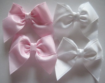 """20 pieces Pink and White Bows  for Hair Bows, Sewing, Crafting, Embellishment, 2 inches,  3/4"""" (20 mm) Ribbon wide"""