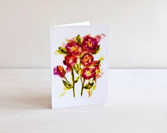 Watercolor Flowers Art Card | 5x7 Floral Card | Birthday Card | Thinking of You Card | Original Art Greeting Card | Well Wishes Card | Art