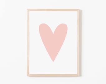 Pink Heart Nursery Art. Nursery Wall Art. Nursery Prints. Nursery Decor. Girl Wall Art. Pink Wall Art. Instant Download.